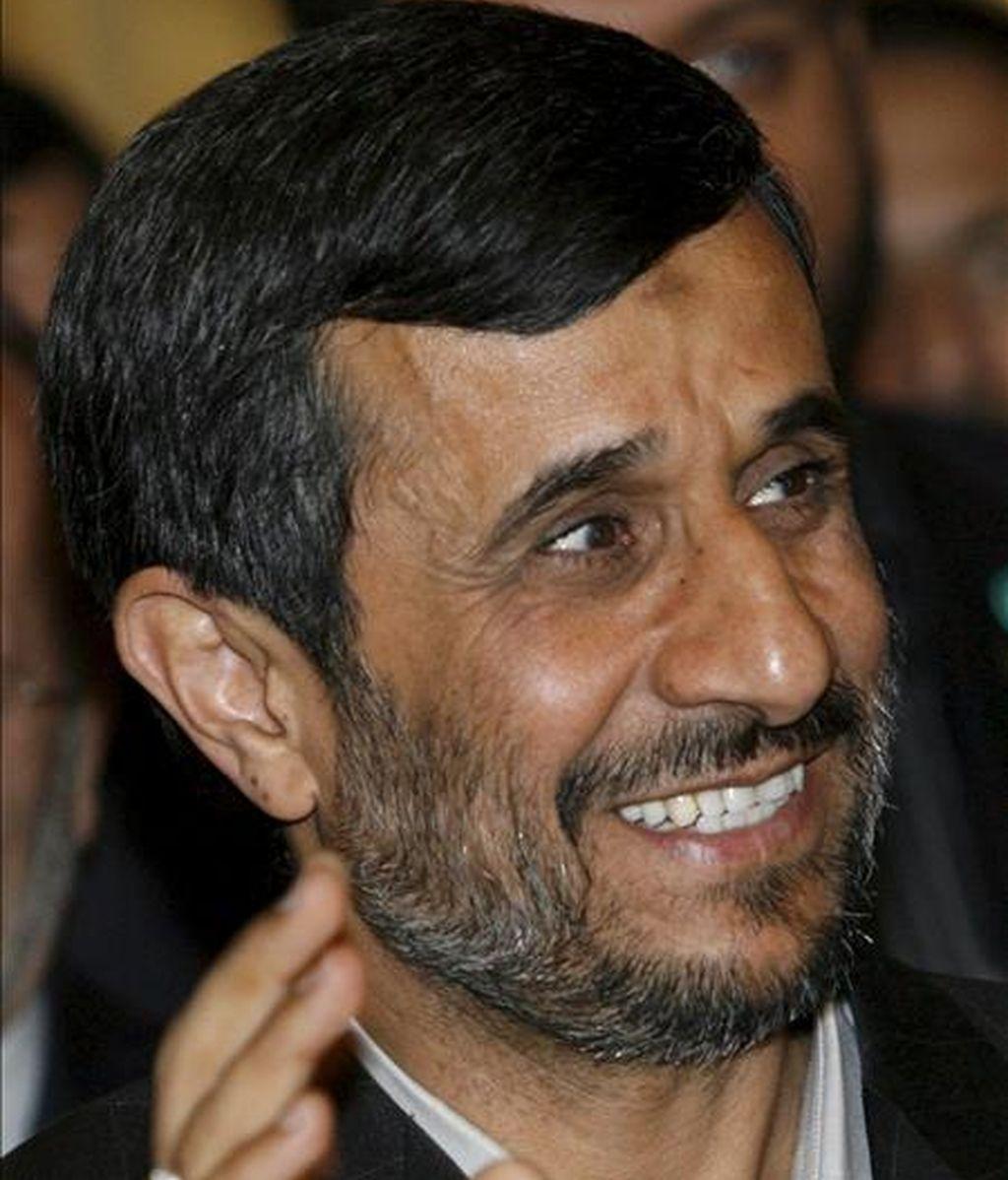 El presidente iraní, Mahmud Ahmadineyad, hoy en Ginebra. EFE