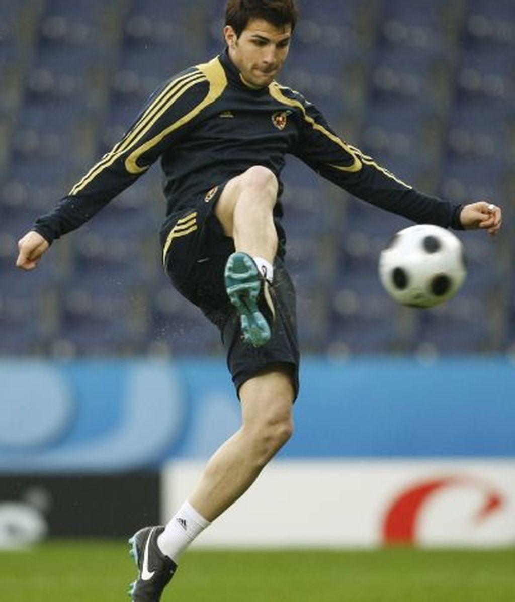 Cesc, durante el entrenamiento. Foto: AP