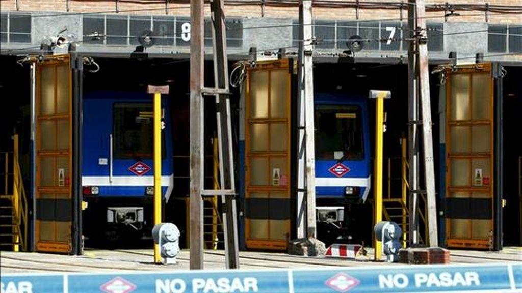 Cocheras de Metro de Madrid en Plaza de Castilla, durante la asamblea de trabajadores. EFE/Archivo
