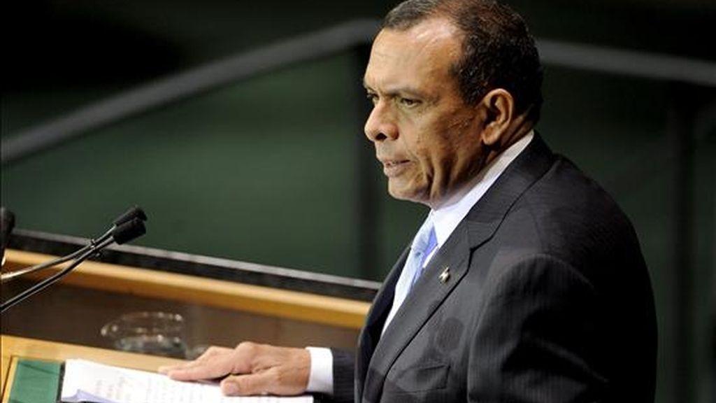 El presidente de Honduras, Porfirio Lobo, toma la palabra durante la la jornada inaugural de la asamblea de la ONU para los Objetivos del Milenio en la sede de Naciones Unidas en Nueva York (EE.UU.), este 20 septiembre. EFE