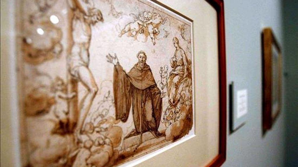 """Detalle de una obra titulada """"Visiones de San Agustín"""", que forma parte de una exposición sobre el dibujante Alonso Cano que la Fundación Marcelino Botín expone en Santander. EFE"""
