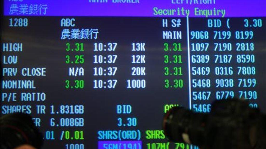 El índice Hang Seng de la Bolsa de Valores de Hong Kong ascendió hoy, lunes, un total de 129,30 puntos en la apertura de sesión, equivalentes al 0,62 por ciento, y se sitúa en 20.944,63 enteros. EFE (Archivo)
