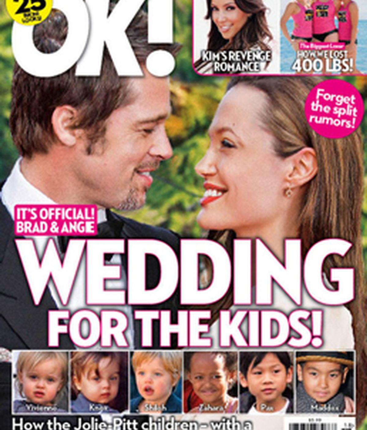 Portada de la revista Ok! que asegura que Brad Pitt y Angelina Jolie se casan.