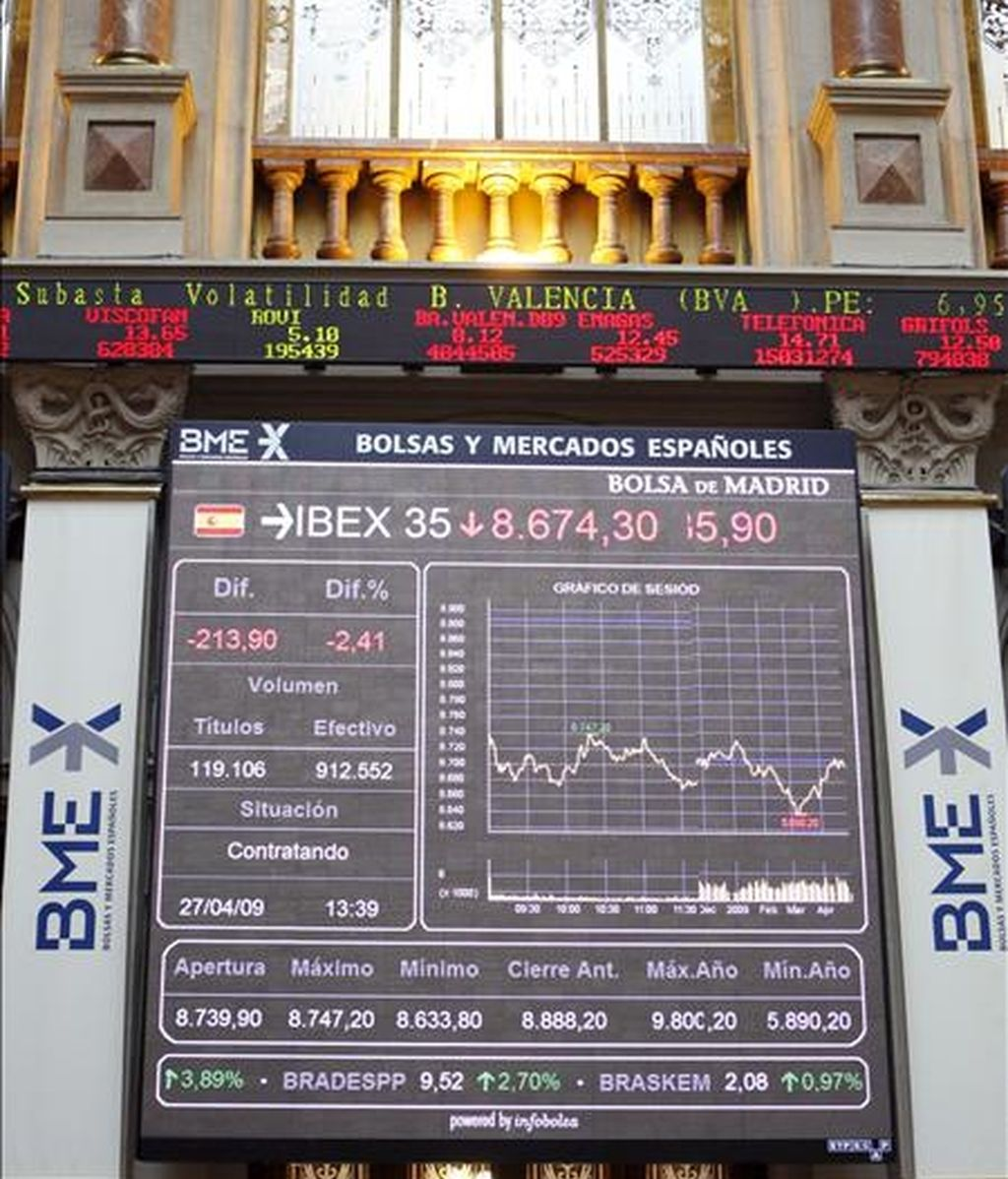 En la imagen, panel de cotizaciones en la Bolsa de Madrid. EFE/Archivo