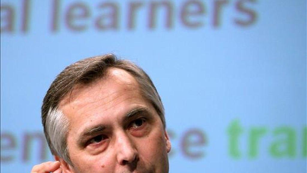 El comisario europeo de Educación, Jan Figel, hoy en Bruselas. EFE