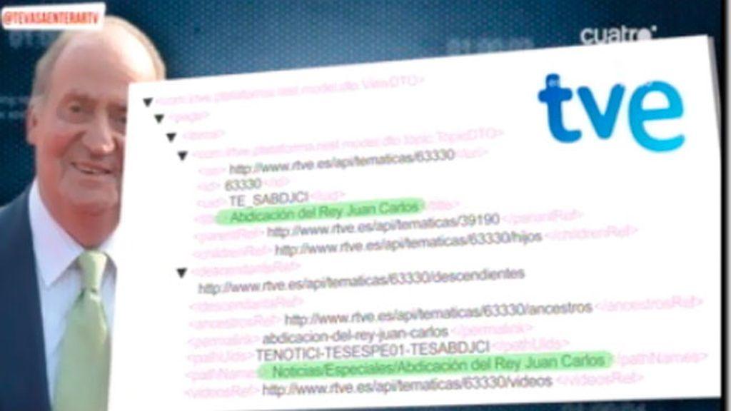 RTVE trabaja en una serie de informaciones bajo el título 'Abdicación del Rey'