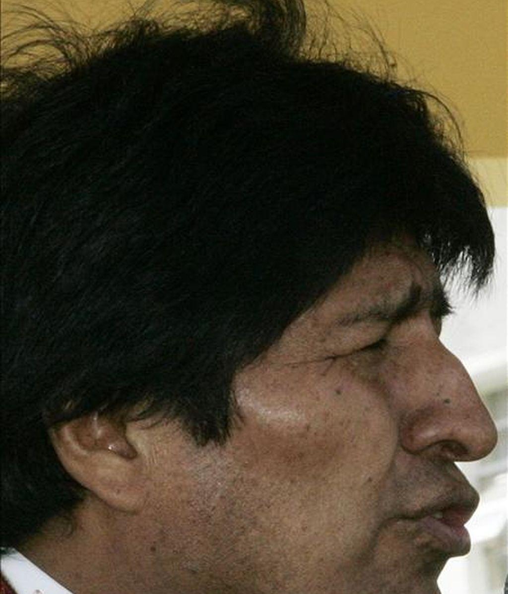 El presidente de Bolivia, Evo Morales, asistió ayer a la inauguración del curso académico militar en La Paz. EFE/Archivo