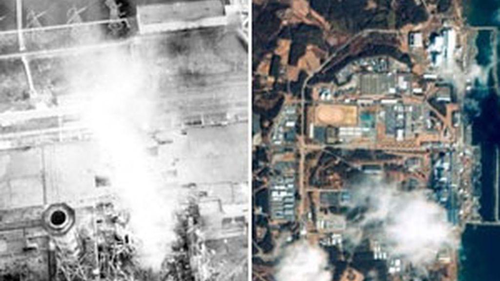 Chernóbil y Fukushima, las centrales nucleares tras sus respectivos incidentes. Foto: AP.