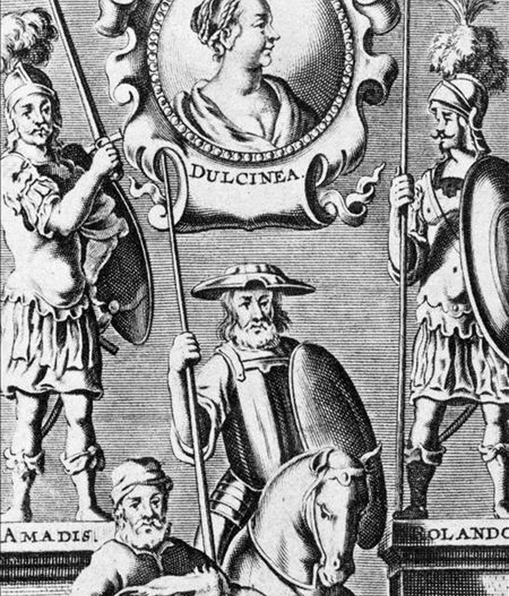 Portada de Don Quijote de La Mancha de una edición hecha en Amberes en 1697 en español, que se conserva en la Biblioteca de la Sociedad Hispánica de América de Nueva York, en la que aparecen los retratos de don Quijote y Sancho Panza, Dulcinea, Amadis y Rolando. EFE/Archivo