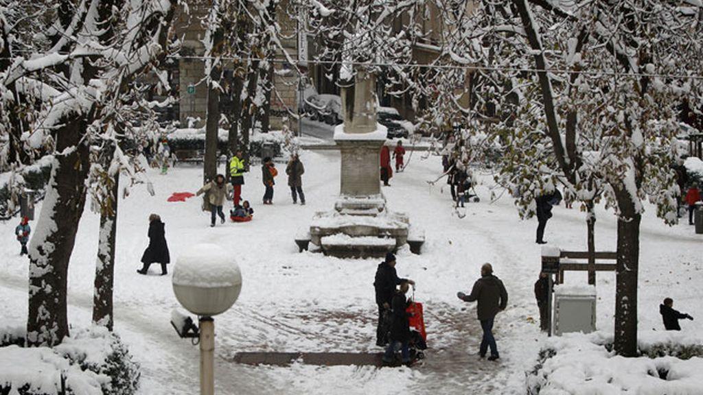 Lyon, cubierta de nieve