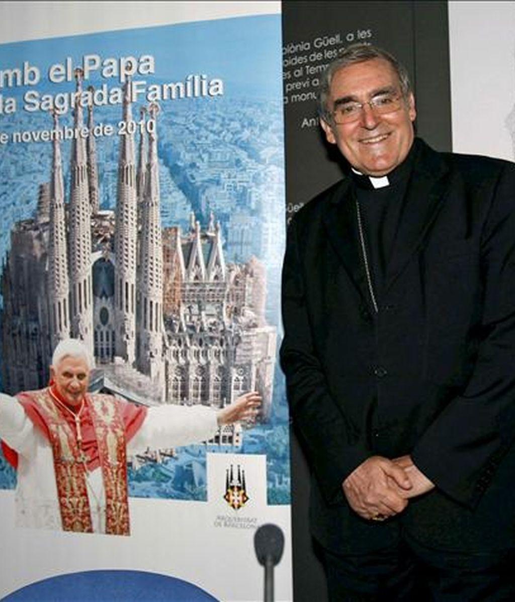 El cardenal arzobispo de Barcelona Lluis Martínez Sistach, informó hoy, en rueda de prensa en Barcelona, del programa de la visita del Papa Benedicto XVI a la ciudad condal, el 7 de noviembre, para consagrar el templo de la Sagrada Familia. EFE
