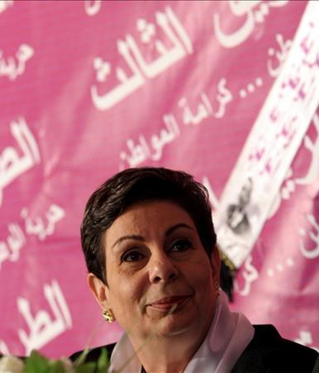 La dirigente palestina Hanan Ashraui, durante un acto electoral en la ciudad cisjordana de Naplusa. EFE/Archivo