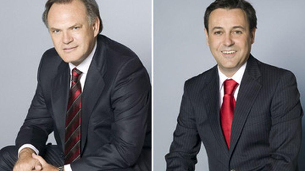 Pedro Piqueras (i.) y José Ribagorda (d.), conductores de los informativos de la sobremesa y 'prime time' respectivamente. Foto: Telecinco