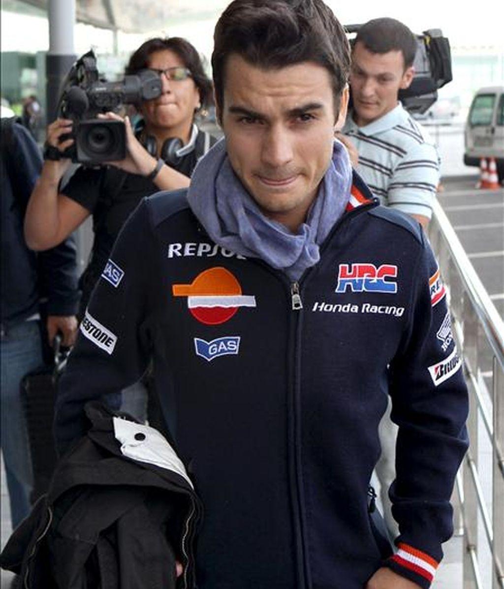 El piloto español de Moto GP Dani Pedrosa (Honda), poco antes de ser operado de la clavícula que se fracturó el pasado viernes en los entrenamientos del Gran Premio de Japón. EFE