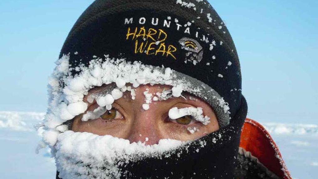 María March con la cara congelada por las gélidas temperaturas