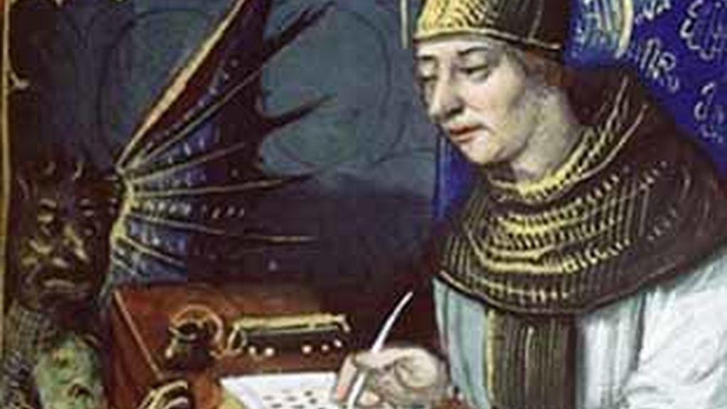 Pintura en la que aparece un monje vendiendo el alma al diablo.