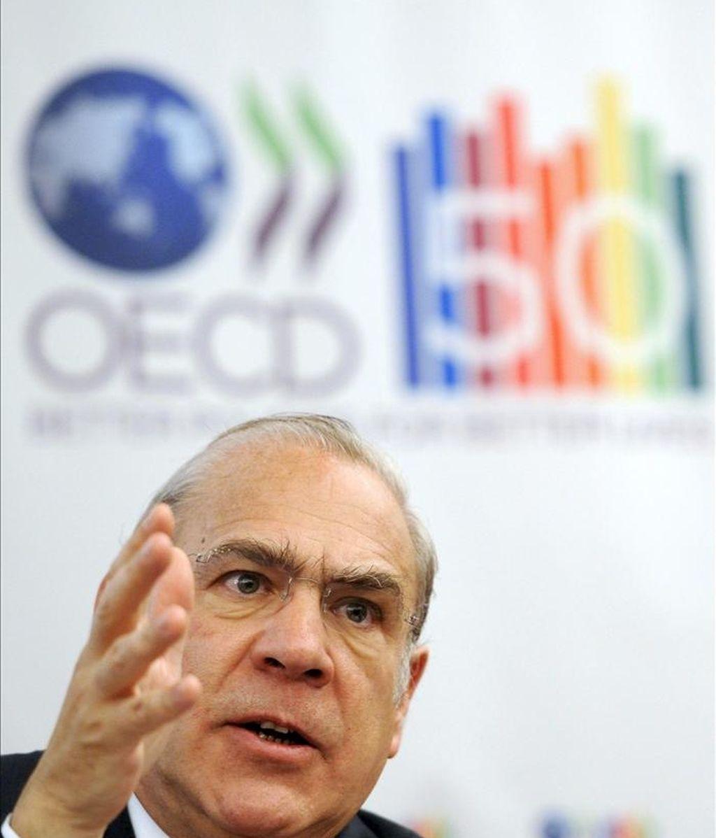 El secretario general de la Organización para la Cooperación y el Desarrollo Económico (OCDE), Ángel Gurría, durante una rueda de prensa. EFE/Archivo