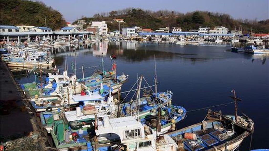 Barcos pesqueros fondeados en el puerto de Goseong, en la costa este de Corea del Sur. EFE/Archivo