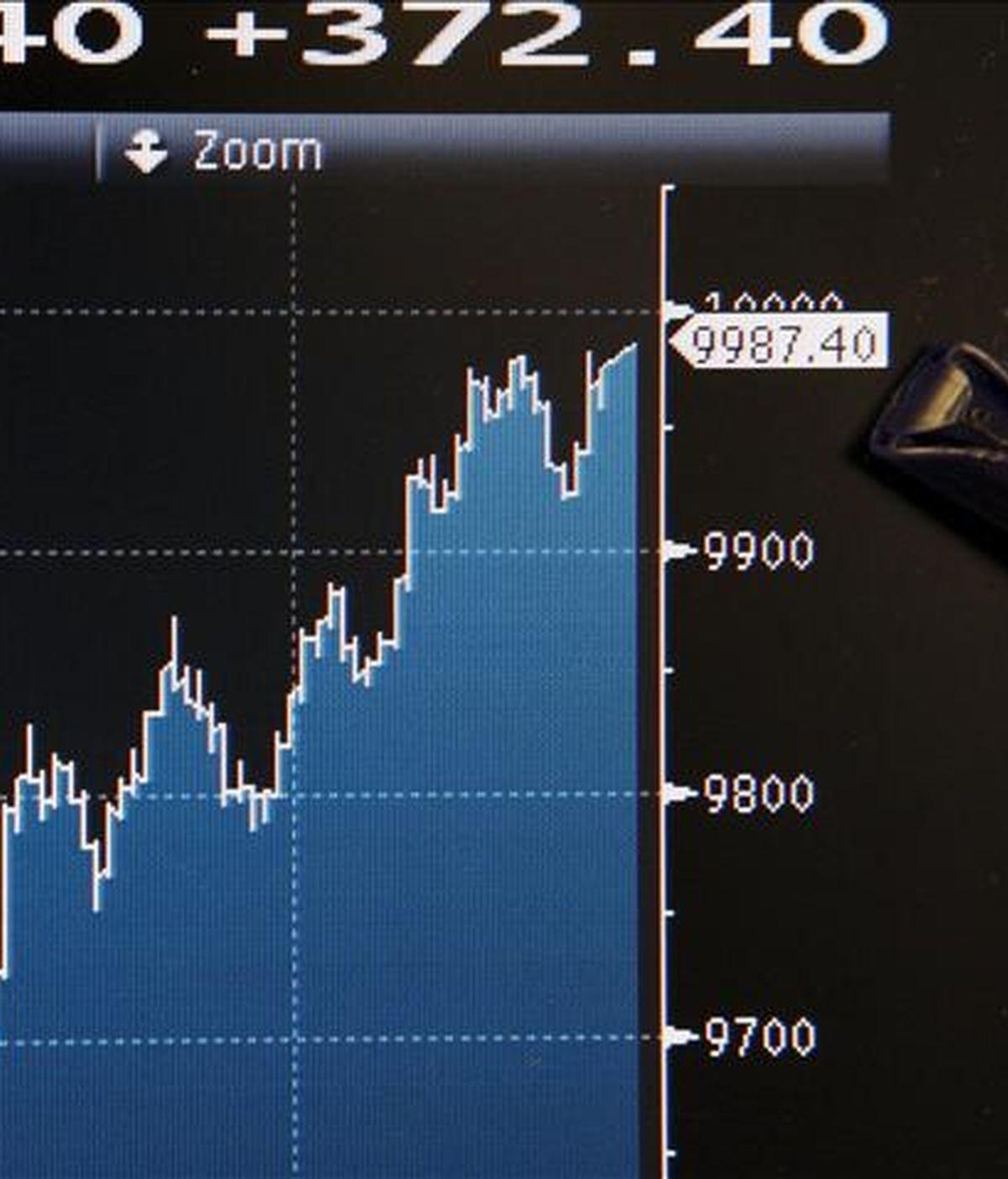 Imagen de un panel informativo tomada hoy que indica una subida de 372,40 puntos en el Ibex-35, equivalente al 3,87 por ciento, hasta alcanzar los 9.987,40 puntos, lo que la convierte en la tercera mayor subida del año. Todos los grandes valores del Ibex subieron hoy: Santander se revalorizó el 6,47 por ciento; BBVA, el 6,25 por ciento; Iberdrola, el 3,80 por ciento, y Telefónica y Repsol YPF, el 2,96 por ciento. EFE