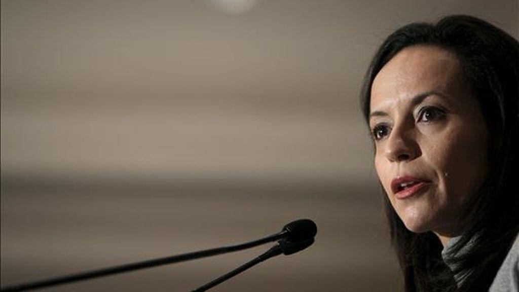 La ministra de Vivienda, Beatriz Corredor, durante su intervención en un acto organizado por el Fórum Europa en Madrid. EFE/Archivo