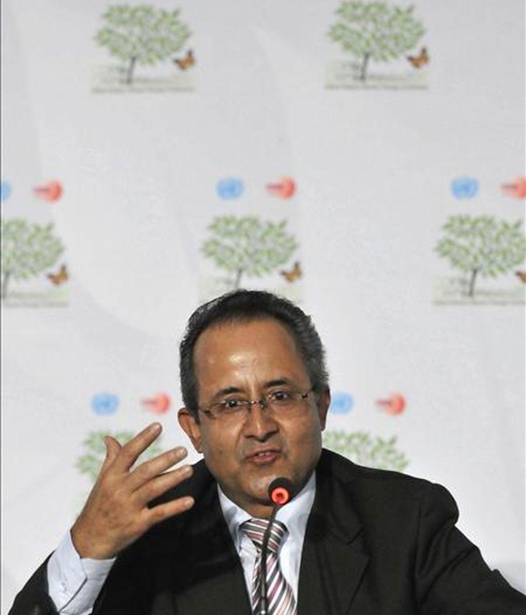 El director del Centro para el Desarrollo Integral de Montañas, Madhav Karki, habla en el marco de la XVI Conferencia de las Partes de la ONU sobre Cambio Climático, en Cancún (México). EFE