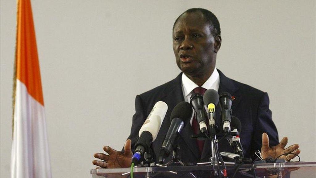 El presidente de Costa de Marfil, Alassane Ouattara, ofrece una rueda de prensa en Abiyán, Costa de Marfil. EFE