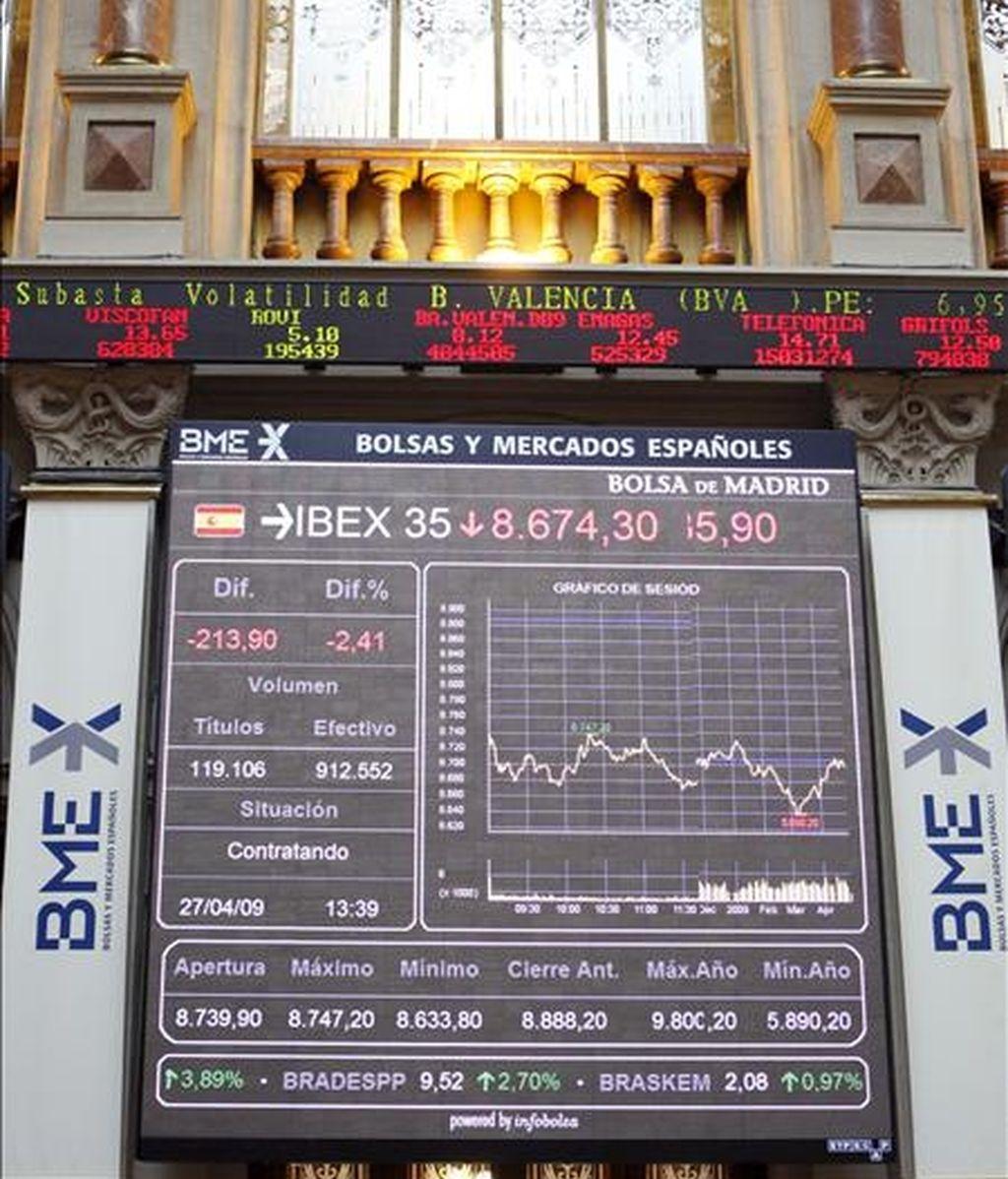 Panel de cotizaciones en la Bolsa de Madrid. EFE/Archivo