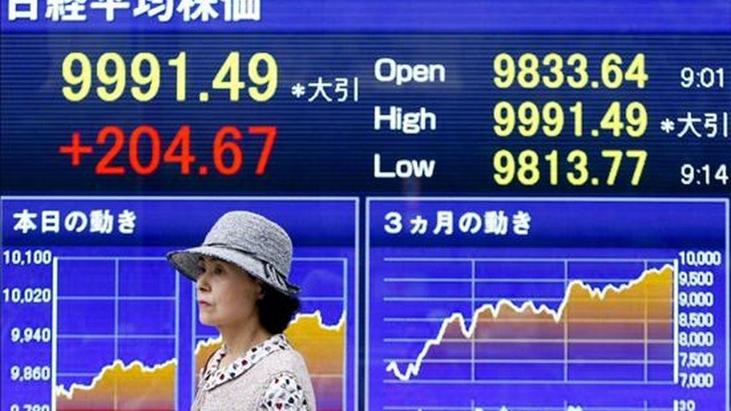 Una mujer pasa por delante de una pantalla en la que se muestran los precios de las acciones, en Tokio (Japón). EFE/Archivo