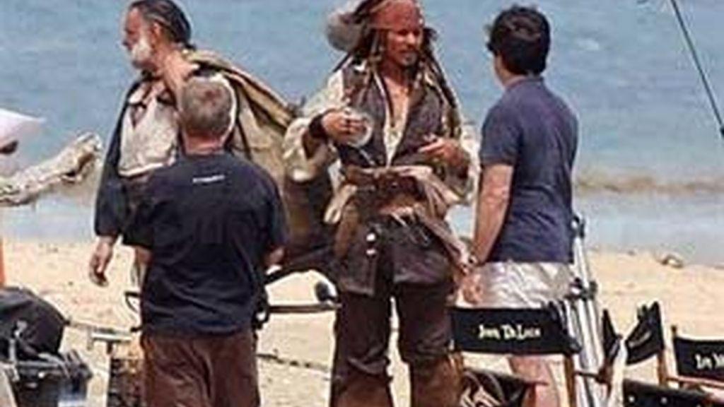 Johnny Deep, durante el rodaje. Foto: Disney