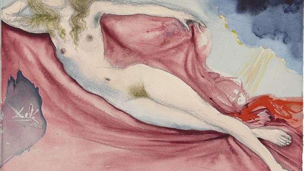 """Fotografía cedida en donde se aprecia la pintura """"Playmate after Rokeby Venus"""" realizada por el español Salvador Dalí para Playboy que fue vendida por 266.500 dólares en Nueva York (NY, EE.UU.). EFE"""