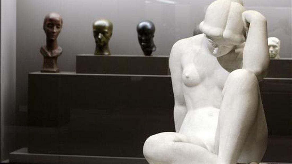 """La figura """"Mediterránea"""" (1906), del escultor francés Aristide Maillol, procedente del Museo de Orsay de Paris, una de las obras que forma parte de la muestra """"¿Olvidar Rodin ? Escultura en París de 1905-1914"""". La exposición aborda el nacimiento de la escultura moderna a través de las mejores piezas del comienzo del siglo XX, reunidas en la Fundación Mapfre. EFE"""