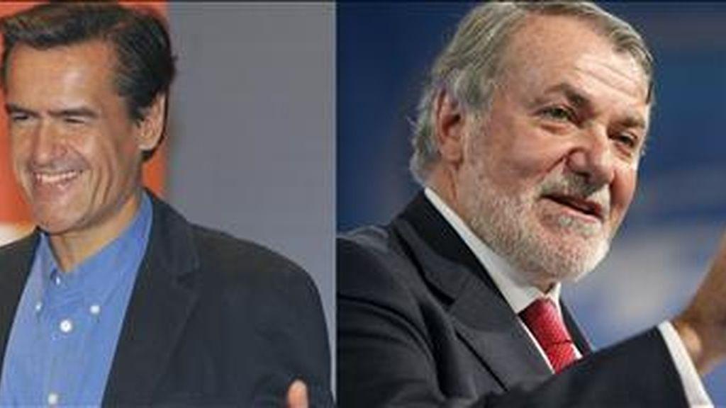 Los cabezas de lista del PSOE y del PP para las elecciones europeas, Juan Fernando López Aguilar (i) y Jaime Mayor Oreja. EFE/Archivo