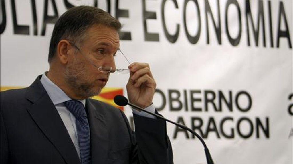 El presidente de Aragón, Marcelino Iglesias, participó hoy en un desayuno informativo organizado por las Tertulias de Economía Entorno Empresarial, en un hotel madrileño. EFE