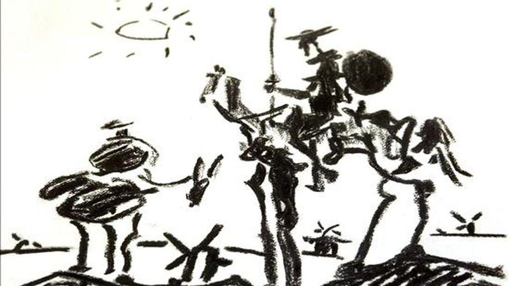 Imagen del carboncillo de Pablo Ruiz Picasso que se conserva en las dependencias de la Policía Municipal y que está siendo investigado por el Ayuntamiento de Zamora para saber si es en realidad un grabado del pintor malagueño que podría estar valorado en un millón de euros. EFE
