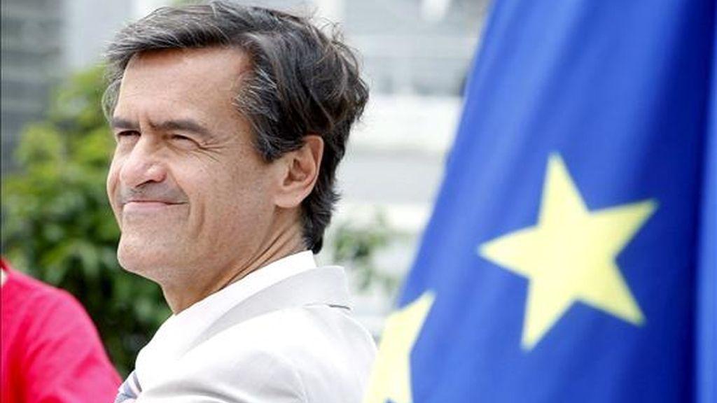 El cabeza de lista del PSOE al Parlamento Europeo, Juan Fernando López Aguilar, en Bilbao donde mantuvo un encuentro con los medios de comunicación, de cara a las próximas elecciones europeas del 7 de junio. EFE