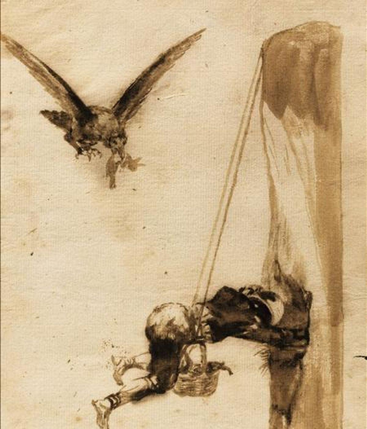 """El dibujo, titulado """"El ladrón de nidos"""", del pintor español Francisco de Goya, se ha vendido hoy en Londres por 1.339.722 dólares, un precio ligeramente superior al precio de salida que estimaba la casa de subastas Sotheby's. El dibujo, que pertenece a uno de los ocho álbumes privados del pintor español, no salía a la venta desde 1877. EFE"""