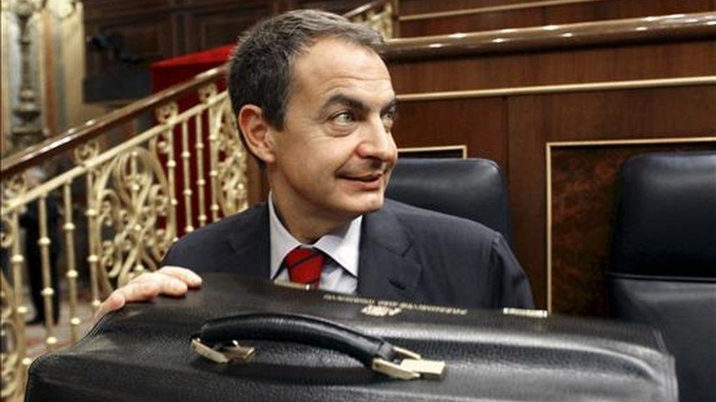 El presidente del Gobierno, José Luis Rodríguez Zapatero, el año pasado en el debate sobre el estado de la nación, en el Congreso de los Diputados. EFE/Archivo