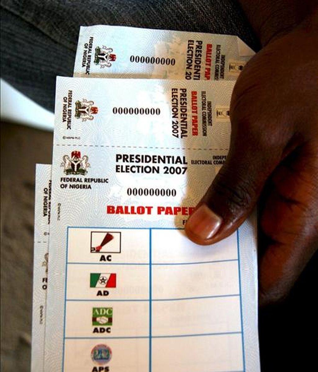 Papeletas para las elecciones presidenciales celebrada en Nigeria en 2007. EFE