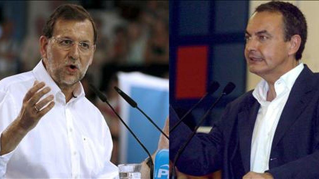 El líder del PSOE, José Luis Rodríguez Zapatero (d) y el del PP, Mariano Rajoy. EFE/Archivo