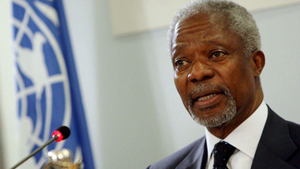 El presidente de AGRA y ex secretario de la ONU, Kofi Annan presenta un plan de cooperación para relanzar el sistema agrícola en África. Foto: EFE.