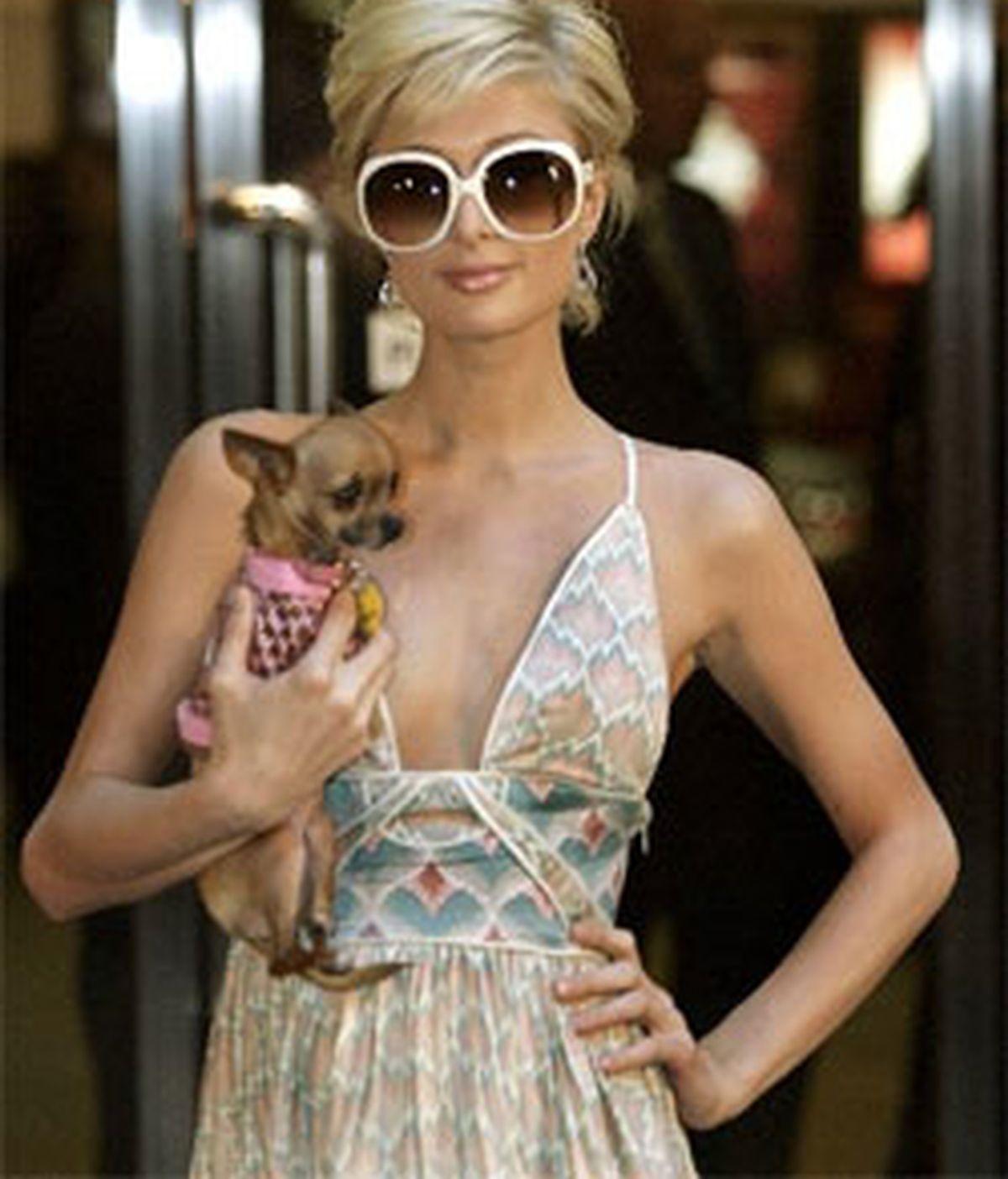 Paris Hilton con uno de sus mimados perros. Foto: Archivo.