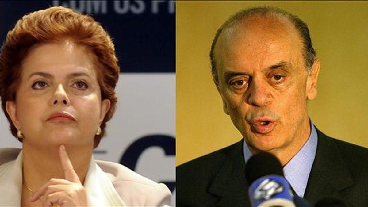 Las últimas encuestas vaticinan una dura lucha por los votos y dicen que tanto Dilma Rousseff (i) como José Serra (d) comienzan la campaña con una intención de voto cercana al 40 por ciento. EFE/Archivo