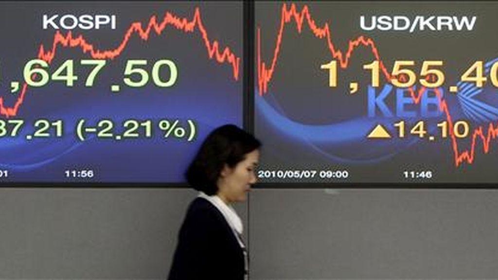 Una mujer pasa delante de dos indicadores bursátiles en la Bolsa de Seúl. EFE/Archivo