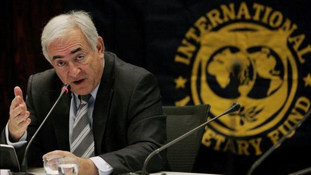 """""""Hay que mejorar la precisión del índice del costo de vida. Y en el FMI estamos listos para proveer asistencia técnica al respecto en cuanto nos lo digan"""", apuntó el director ejecutivo del organismo, Dominique Strauss-Kahn. EFE/Archivo"""