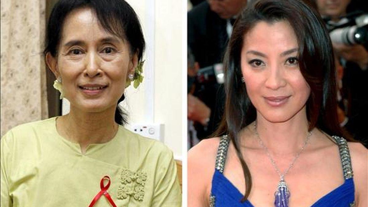 Combo fotográfico compuesto por una imagen de la líder opositora birmana y nobel de la paz Aung San Suu Kyi (i), tomada el 18 de noviembre de 2010 y otra de la actriz Michelle Yeoh (d), del 21 de mayo de 2007. La vida de Aung San Suu Kyi, ha inspirado un filme biográfico que se rueda en Tailandia a las ordenes del director francés Luc Besson. EFE