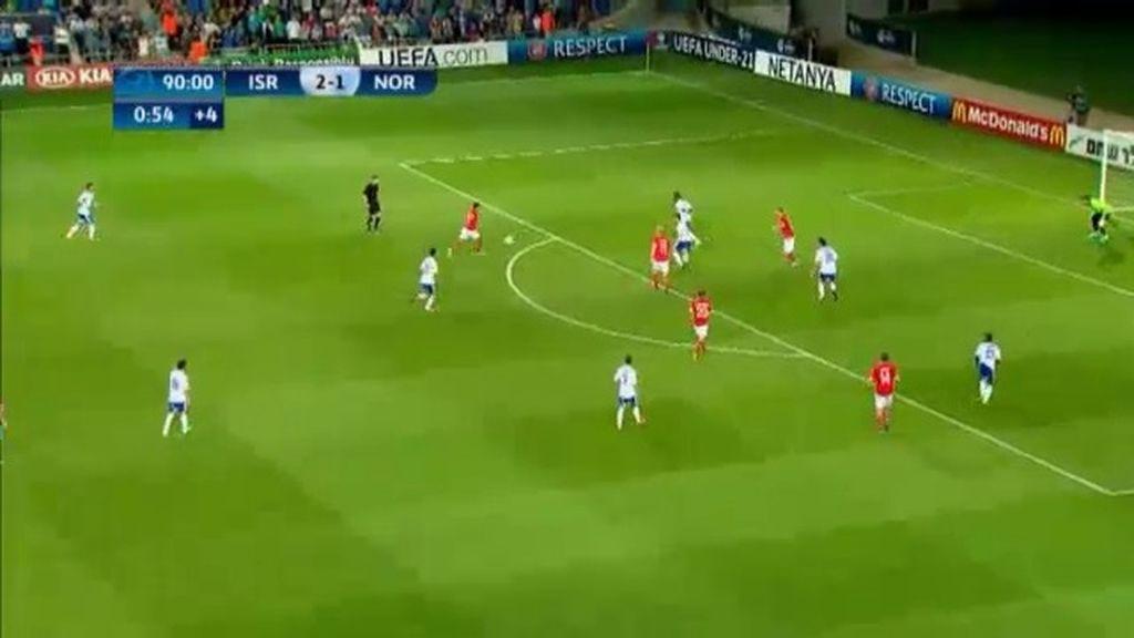 Gol: Israel 2 - 2 Noruega (min. 91)