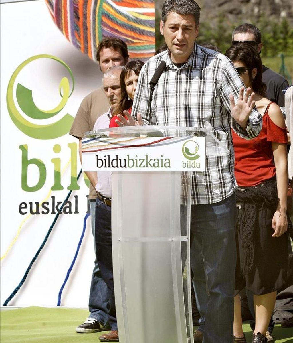El portavoz de Bildu, Oskar Matute, durante una rueda de prensa. EFE/Archivo