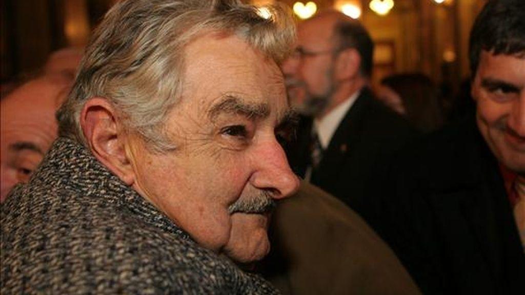 El presidente uruguayo, José Mujica, el 19 de julio, en el acto conmemorativo de los 25 años del retorno a la democracia en el país, en el Palacio Legislativo de Montevideo (Uruguay). EFE