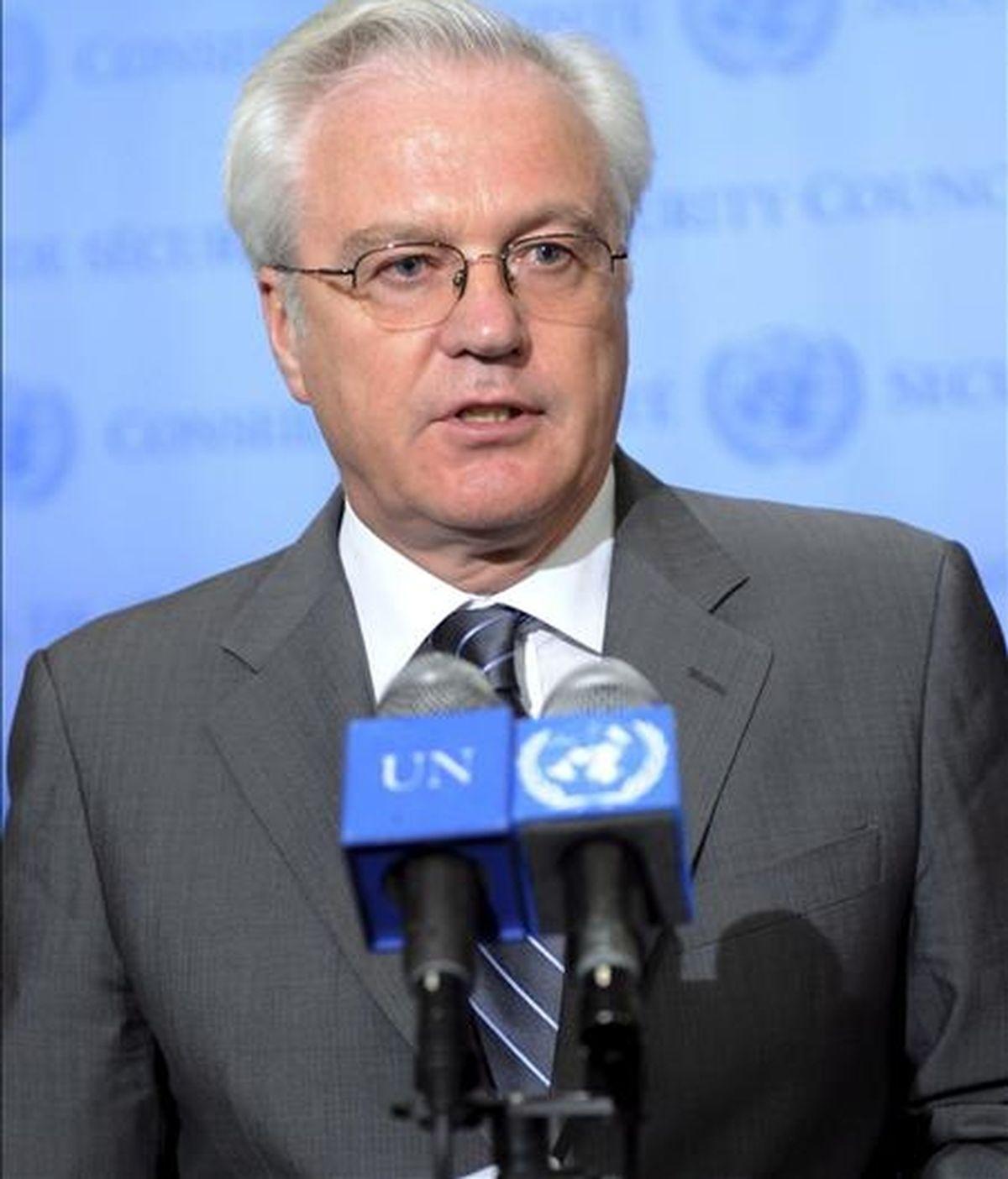 """""""Las resoluciones del Consejo están para ser respetadas"""", señaló el embajador de Rusia, Vitaly Churkin, quien subrayó que con la actual se envía a Pyongyang un """"mensaje político"""" de firmeza. EFE/Archivo"""