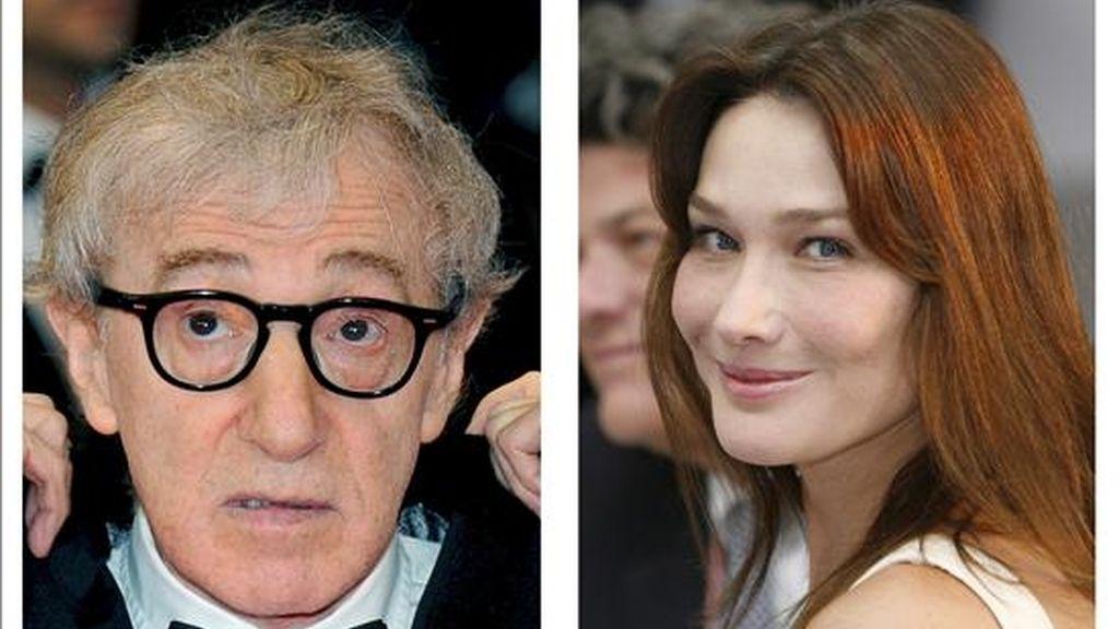 Combo de fotografías de archivo del director de cine estadounidense Woody Allen (i), fechada en Cannes (Francia), el 17 de mayo de 2008; y de la primera dama francesa, Carla Bruni-Sarkozy, fechada en L'Aquila (Italia), el 9 de julio de 2009. Allen se ha instalado en París para iniciar el rodaje de la película en la que participará Carla Bruni. EFE/Archivo